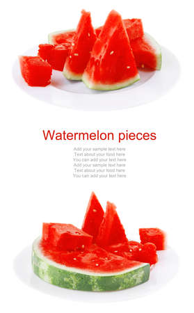 image of red watermelon over white plate Stock Photo - 13978620