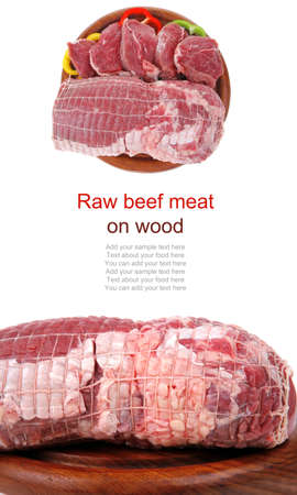 fresh uncooked meat chunk on  wooden board Stock Photo - 14083140