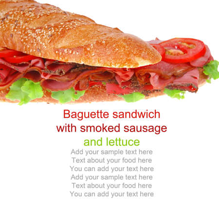 french sandwich : baguette with smoked sausage isolated over white photo