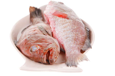 sunfish: raw fresh sunfish prepared for cooking on ceramic plate Stock Photo