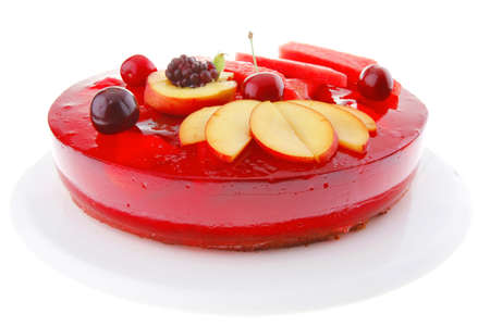gelatine: sweet cold red jelly pie with apricot and watermelon Stock Photo