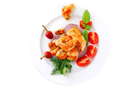 Bild von Hühnerfleisch und Gemüse auf Teller Standard-Bild - 14270434