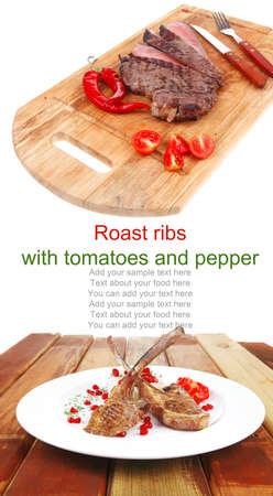 meat food: ribs on white with rice garnich and tomatoes over wood photo