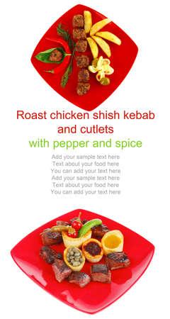 european food: Alimentaria Europea: goulash carne a la parrilla en la placa roja con pimientos, alcaparras y aceite de olivas y salsa de barbacoa Foto de archivo