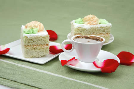 good morning : cake with whipped cream served with black coffee cup photo