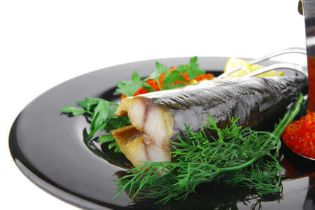 image of smoked fish served with salmon red caviar Stock Photo - 14400949