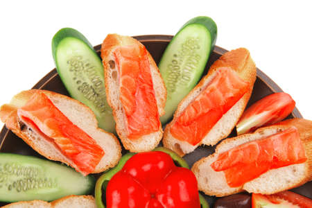small salmon sandwiches served with vegetables Stock Photo - 14449369