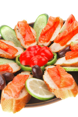 smoked salmon on baguette with olives and pepper Stock Photo - 14449248