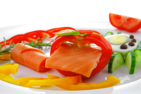 image of salmon slices and vegetables with eggs photo