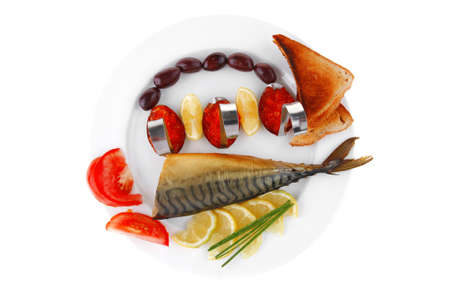 fish olives and red caviar on white plate photo