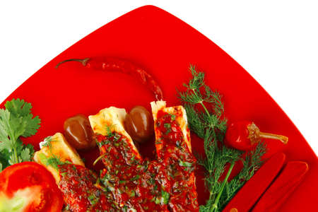 cheese cannelloni served with vegetables on red plate photo