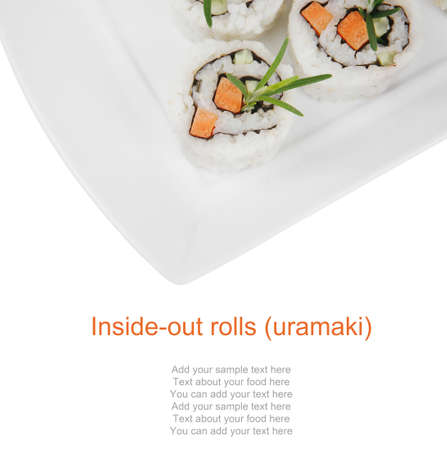 Maki Sushi - California Roll with Cucumber , Cream Cheese and Raw Salmon inside. Served with wasabi and ginger . on long white plate isolated over white background Stock Photo - 14672332