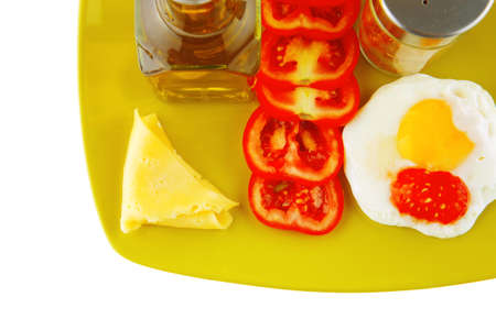 fried eggs and olive oil on yellow plate photo