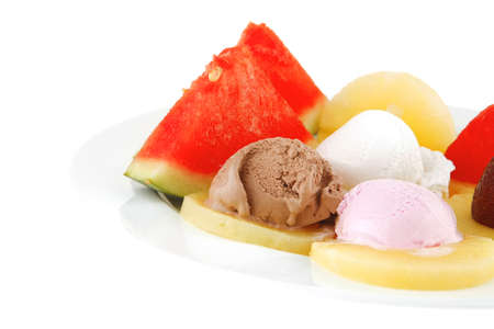 ice cream and fruits on white plate