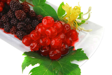 image of blackberry, cherry and cranberry on white Stock Photo - 14672481