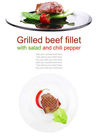 argentinean: barbecued meat : beef ( lamb ) garnished with green lettuce and red chili hot pepper on white plate isolated over white background