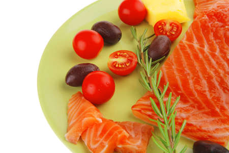 smoked salmon bar on plate with vegetables Stock Photo - 14672618