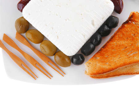 feta and olives with toast and tomatoes Stock Photo - 14785760