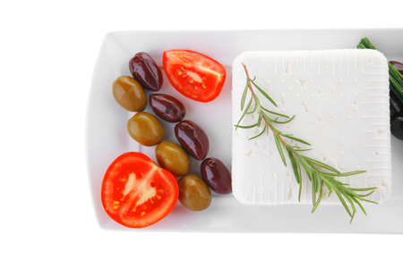 image of soft feta cube and bread toast on plate Stock Photo - 14786869