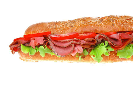 french sandwich : long baguette with smoked chicken sausage isolated on white background photo