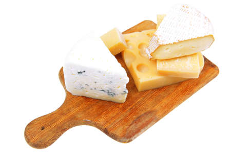 various types of solid french cheese parmesan brie and edam on wooden platter isolated on white background Stock Photo - 14785664