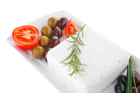 image feta cube and olive over white plate with bread Stock Photo - 14786506