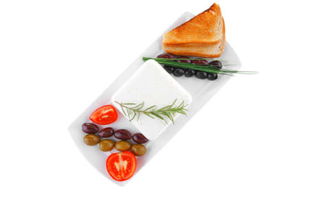 image feta cube and olive over white plate with bread Stock Photo - 14786330