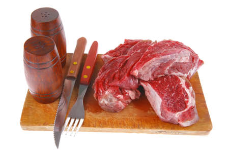 beef fresh raw steak on wood cut board ready to cooking photo
