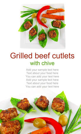 grilled french cutlets served on basil leafs Stock Photo - 15211404