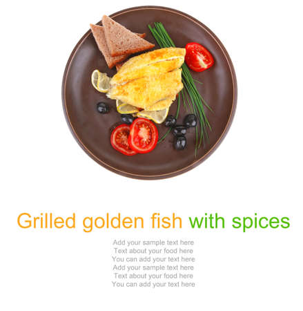 fish fillet with greek olives,tomatoes,chives and lemon on plate Stock Photo - 14941227