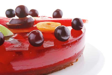 sweet cold red jelly cake with cherry and watermelon photo