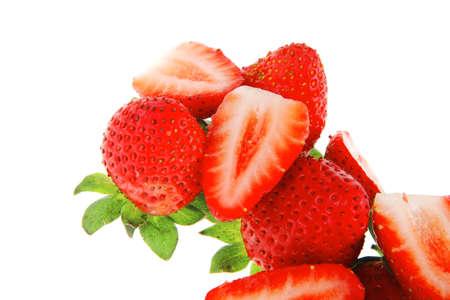 raw fruits: fresh ripe strawberry isolated over white