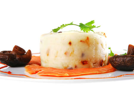red smoked salmon with mash served on white plate Stock Photo - 15008172