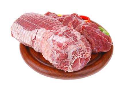 Brocken: frische gegartem Fleisch Chunk auf Holzbrett