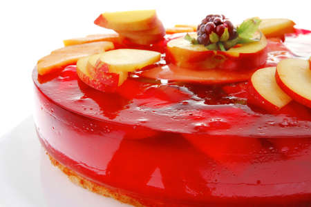 sweet cold red jelly pie with peach