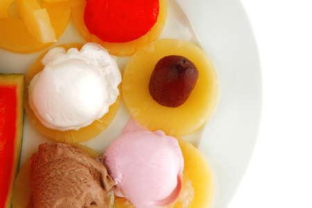 fruits served and mixed with ice cream photo