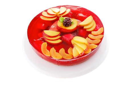 sweet cold red jelly pie with peach and nectarine photo