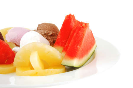 brylle: plate full of fruits and ice cream on white