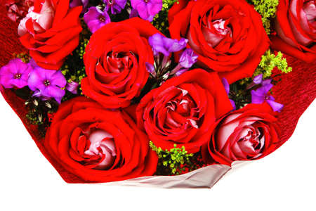 flowers : big bouquet of rose and pansy flowers with green grass in red wrapping papper isolated over white background Stock Photo - 15884863