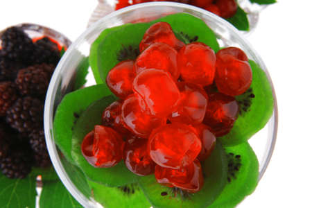 black and red berrys in transparent glass bowl Stock Photo - 15883550