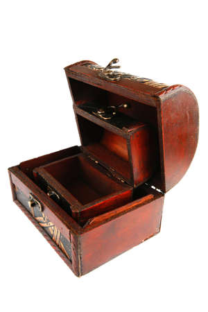 two open wooden chests with metal ornament Stock Photo