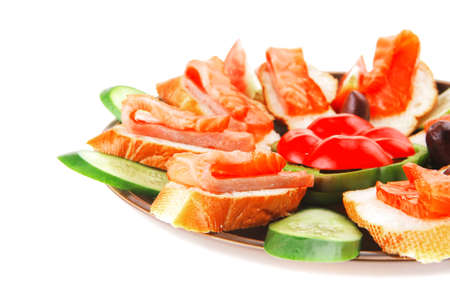 smoked salmon on baguette with olives and pepper Stock Photo - 16006423