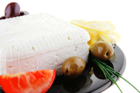 image of feta cheese and olives on black Stock Photo - 16025773