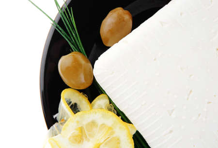 mediterranian: image of rare olives and feta cube