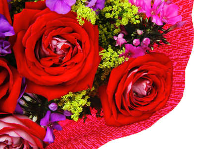 botan: flowers : big bouquet of rose and pansy flowers with green grass in red wrapping papper isolated over white background
