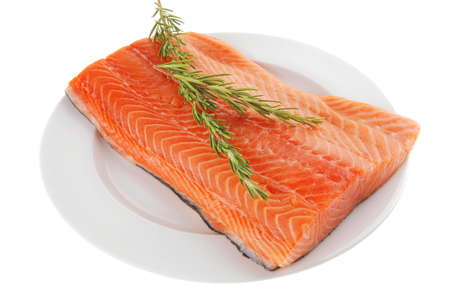 raw big salmon bar on white plate and rosemary Stock Photo - 16237826