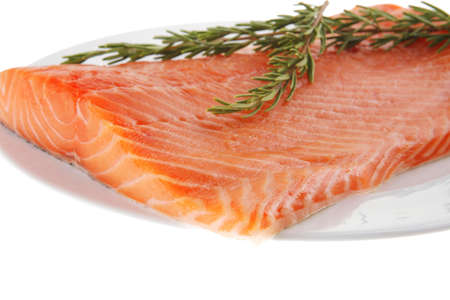 fresh raw red fish fillet on white plate and rosemary photo