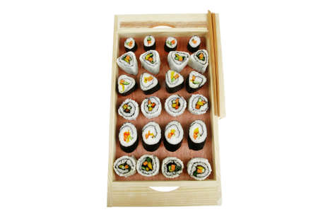 philadelphia roll: Japanese Cuisine - Maki Roll with Deep Fried Vegetables inside . on wooden plate . isolated over white background Stock Photo