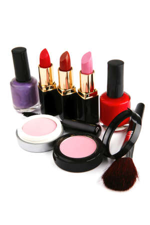 beauty accesories makeup set over white background photo