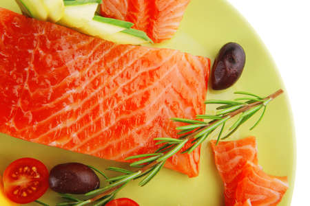 smoked salmon bar on plate with vegetables Stock Photo - 16925388